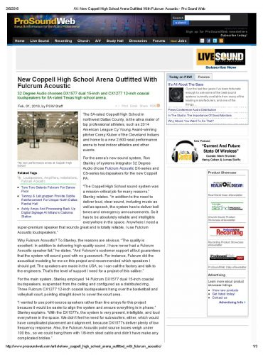 AV_ New Coppell High School Arena Outfitted With Fulcrum Acoustic - Pro Sound Web-page-001