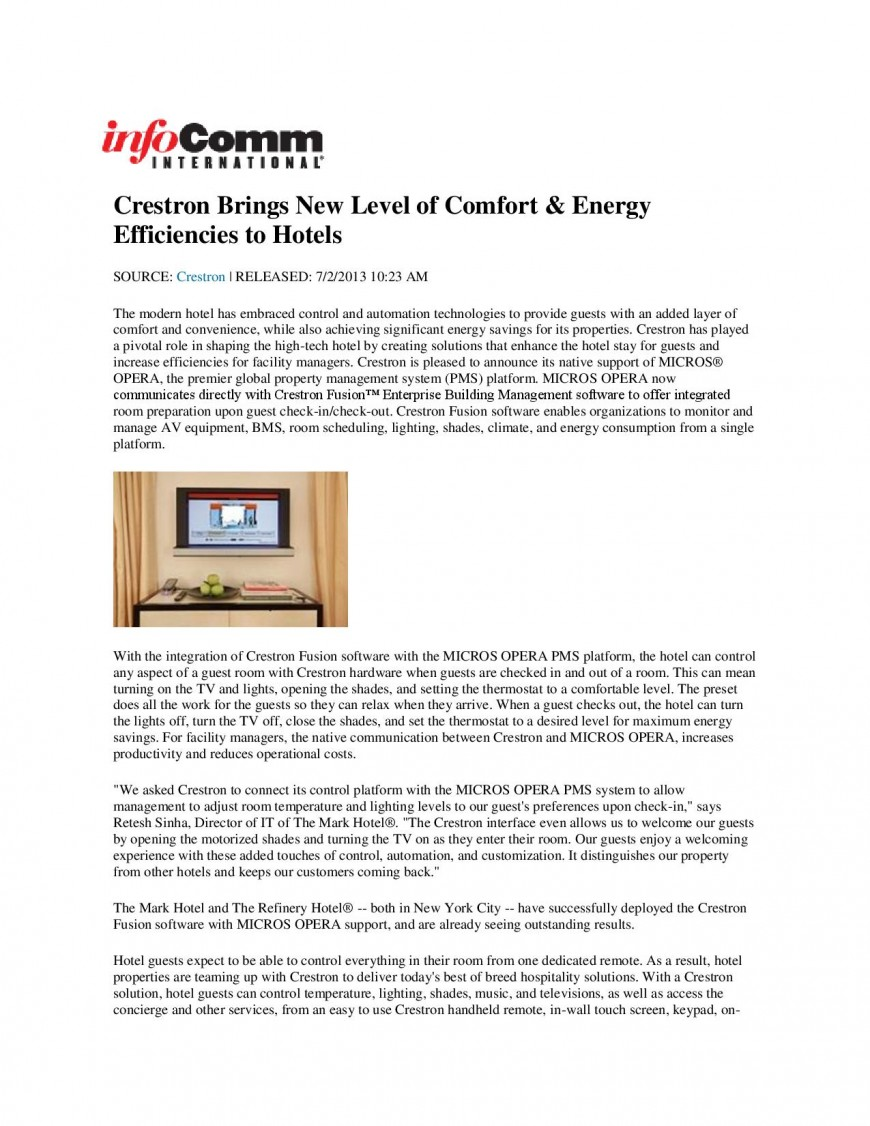 Crestron Brings New Level of Comfort & Energy Efficiencies to Hotels